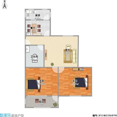 普利永庆街1号2室2厅1卫1厨113.00㎡户型图