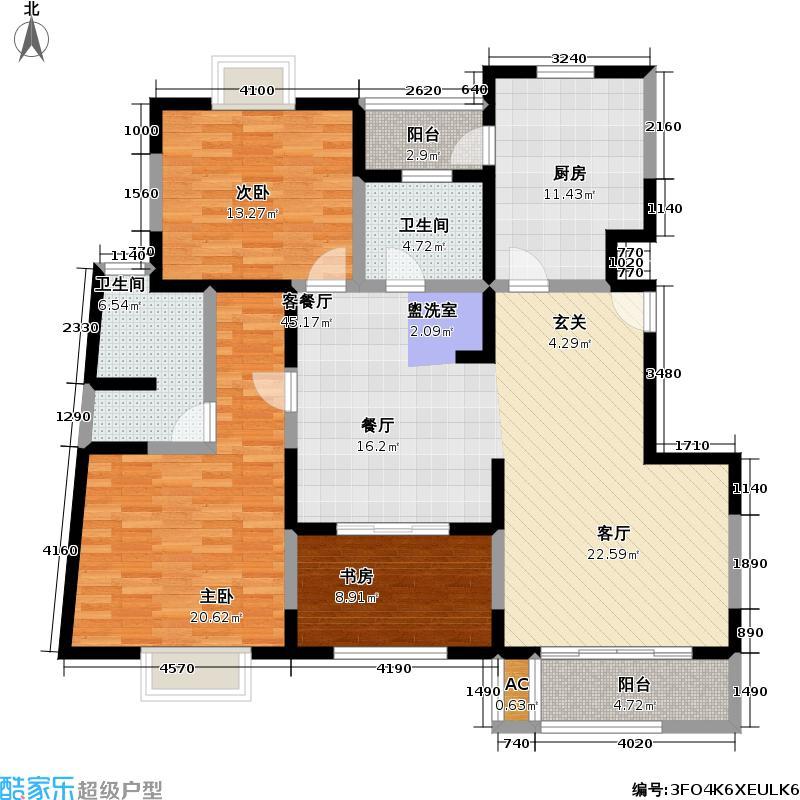 曹杨新苑三期132.39㎡房型: 三房; 面积段: 132.39 -144.8 平方米; 户型