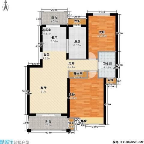 宝地绿洲城一期2室0厅1卫1厨88.10㎡户型图