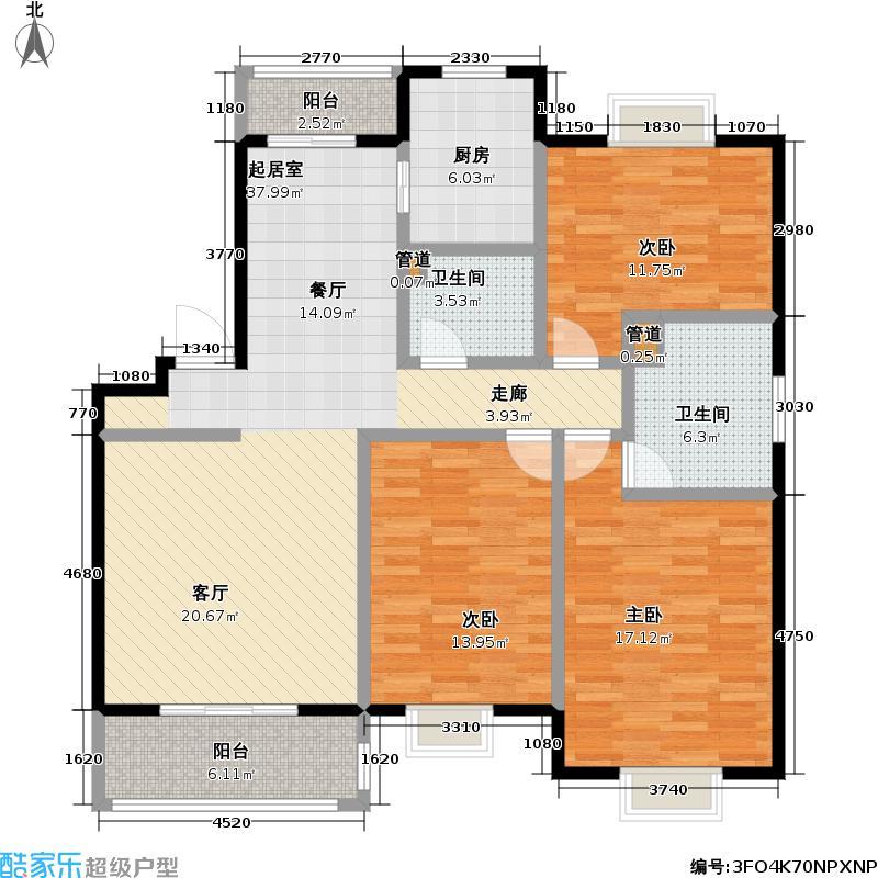 璞真园121.00㎡房型: 三房; 面积段: 121 -124 平方米; 户型