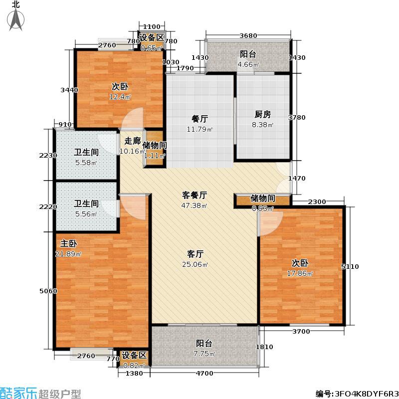 皇都花园(一期)房型: 三房; 面积段: 145 -188 平方米; 户型