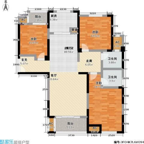 国金怡桂苑3室0厅2卫1厨129.00㎡户型图
