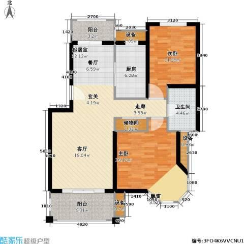宝地绿洲城一期2室0厅1卫1厨88.00㎡户型图