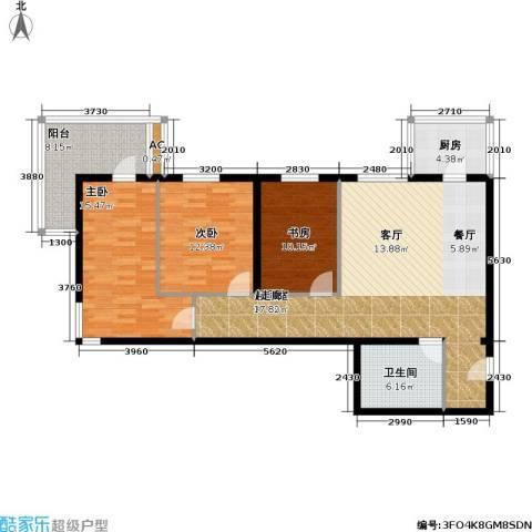泰和园3室0厅1卫1厨108.00㎡户型图