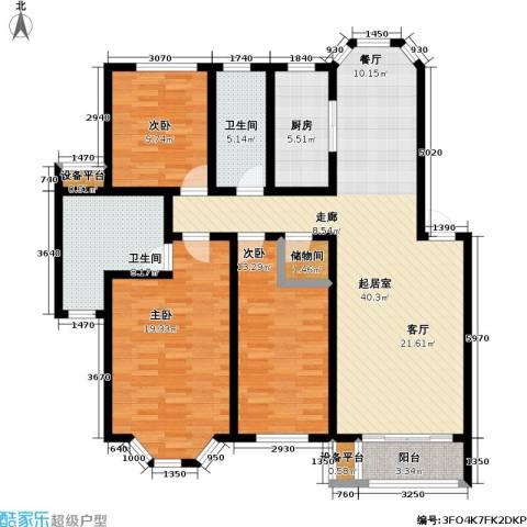 丰润港岛花园3室0厅2卫1厨125.00㎡户型图