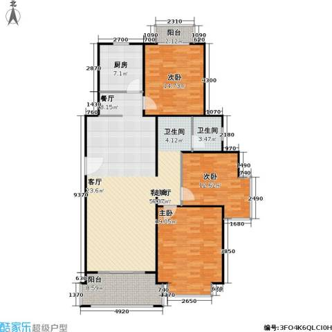 长宁馥邦苑3室1厅1卫1厨157.00㎡户型图