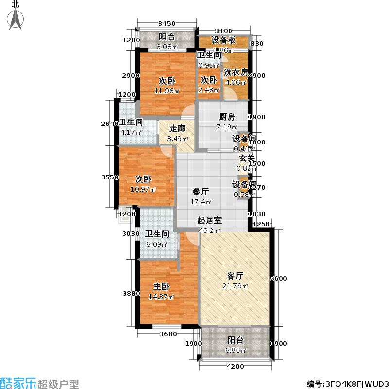 西城晶华152.52㎡C1户型三室两厅三卫户型