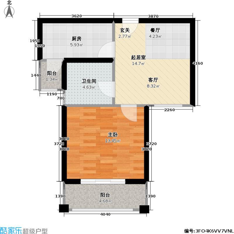 宝地绿洲城三期50.68㎡房型: 一房; 面积段: 50.68 -50.97 平方米;户型