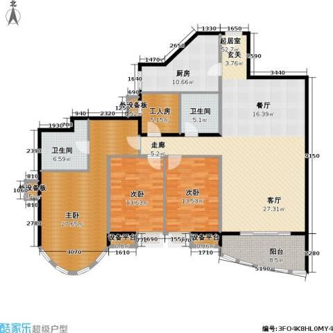 珠江绿洲3室0厅2卫1厨163.00㎡户型图