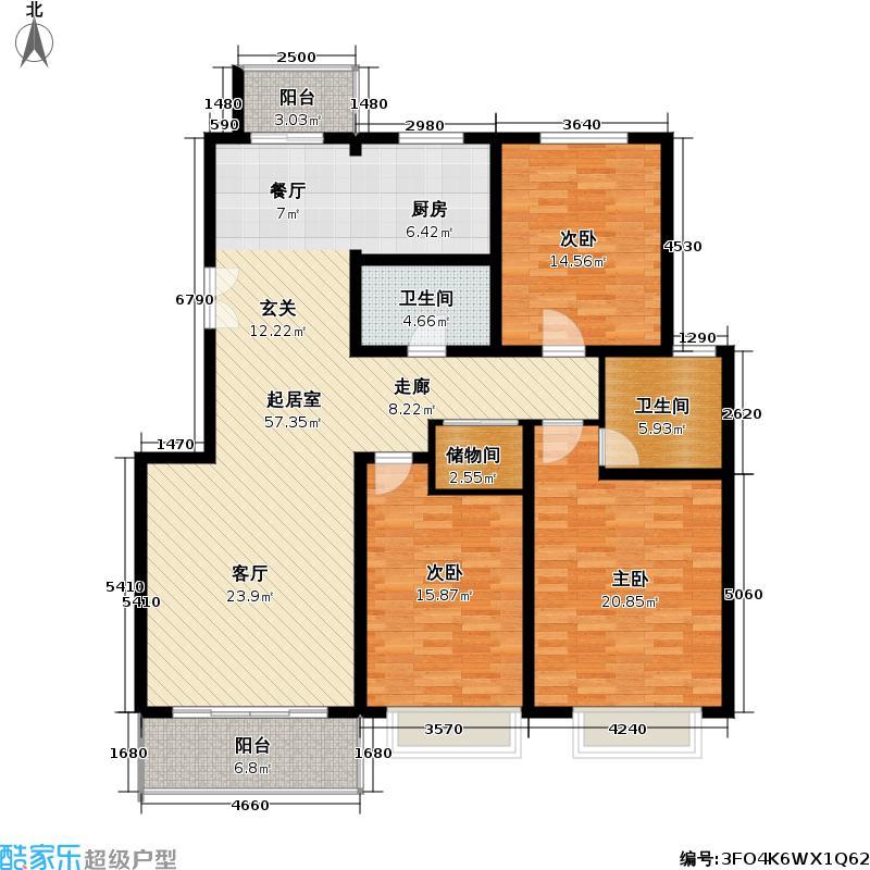 联鑫虹桥苑一期房型: 三房; 面积段: 128.67 -140.64 平方米; 户型
