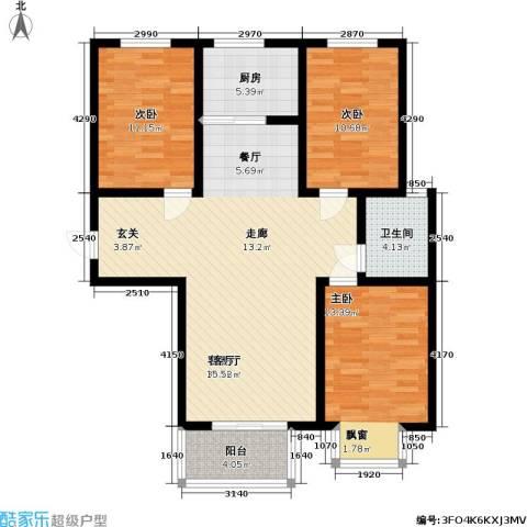 逸格3室1厅1卫1厨116.00㎡户型图