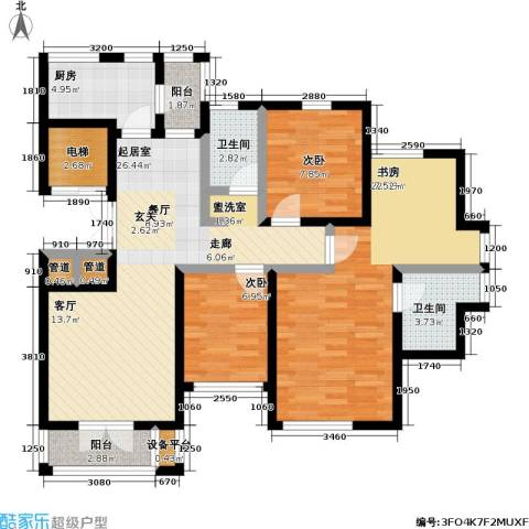世纪梧桐公寓3室0厅2卫1厨155.00㎡户型图