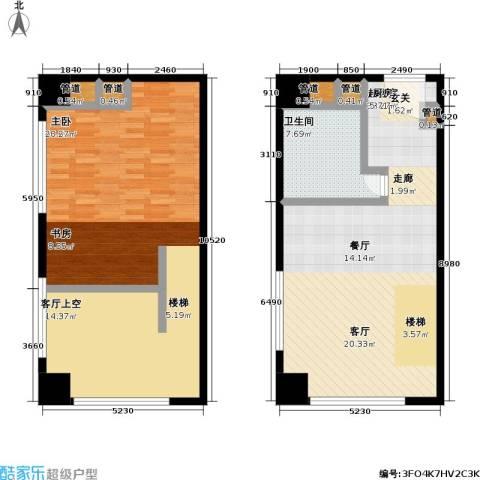 昆仑唐人中心1室0厅1卫0厨94.67㎡户型图