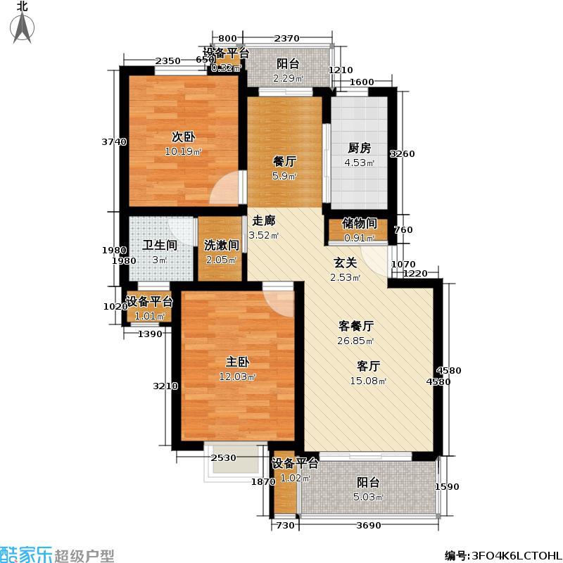 博馨苑81.00㎡房型: 二房; 面积段: 81 -99 平方米; 户型