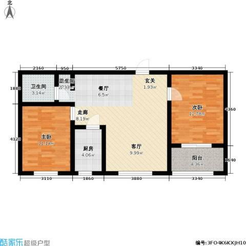 逸格2室1厅1卫1厨87.00㎡户型图