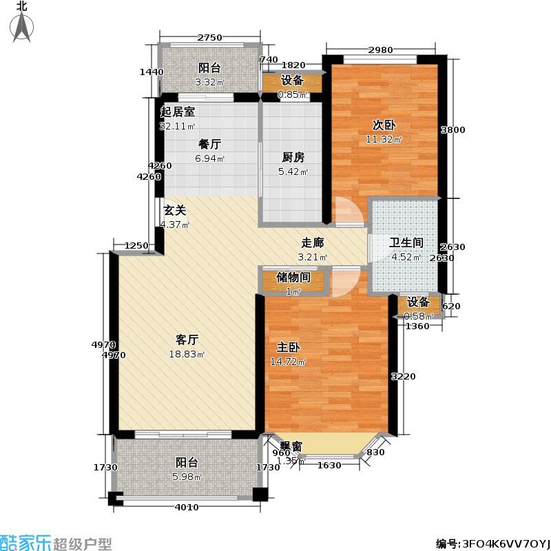 宝地绿洲城三期70.00㎡房型: 二房; 面积段: 70 -99 平方米;户型