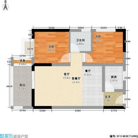 首创i HOME2室1厅1卫1厨72.00㎡户型图