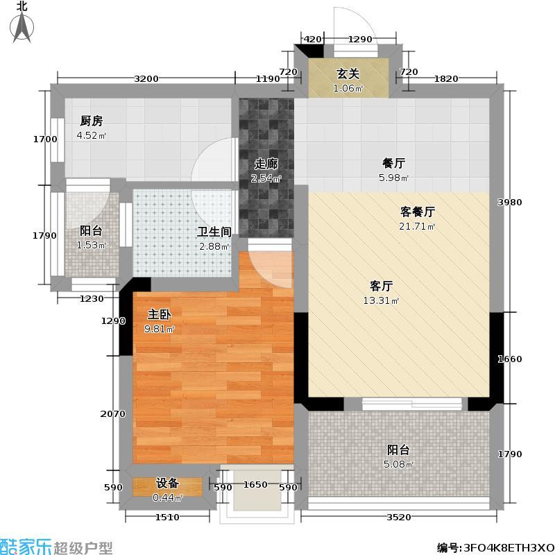 首创i HOME1号楼8号房 1室2厅1卫1厨47.53㎡户型