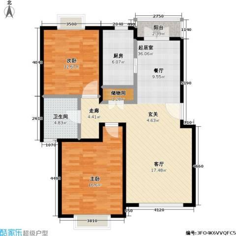 城投世纪名城二期2室0厅1卫1厨90.00㎡户型图