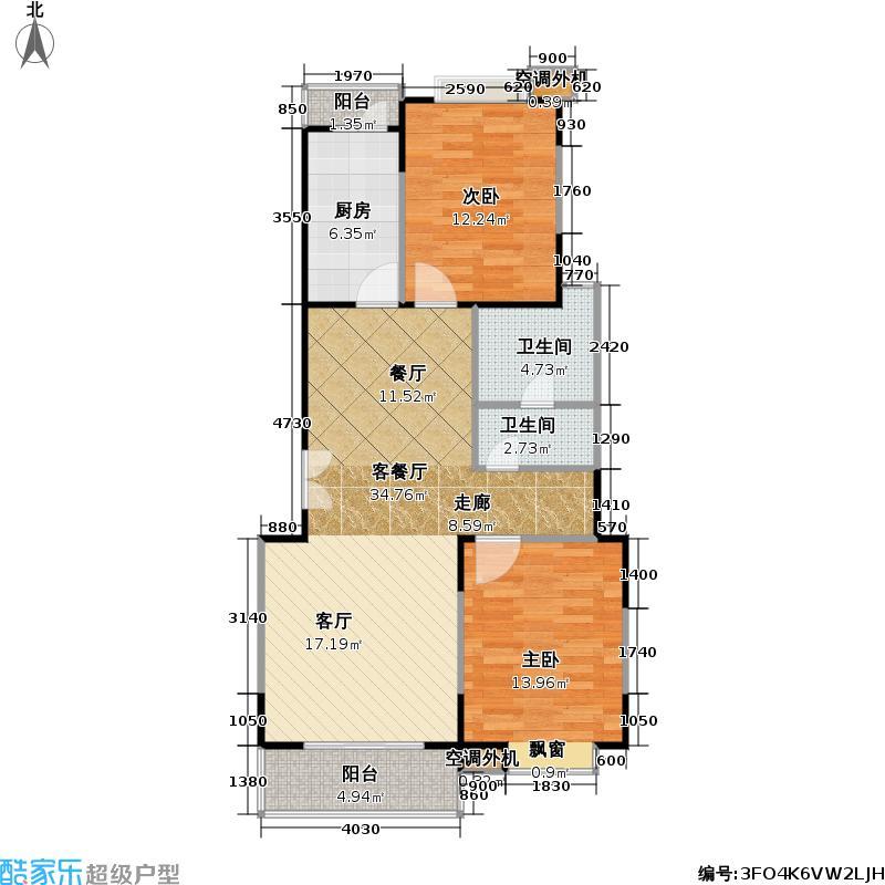 华翔公寓西块88.39㎡房型: 二房; 面积段: 88.39 -119.96 平方米;户型