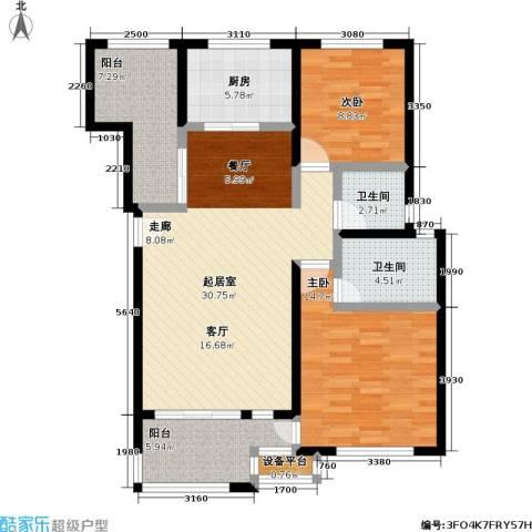 东方瑞景花园2室0厅2卫1厨119.00㎡户型图