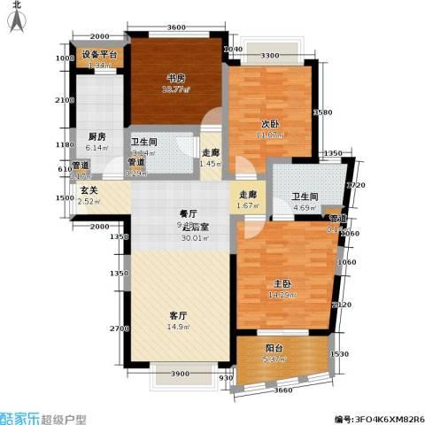 浦发广场3室0厅2卫1厨124.00㎡户型图