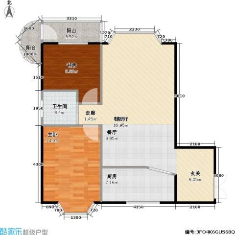 鹦鹉花园(六期)2室1厅1卫1厨83.00㎡户型图