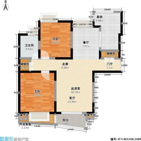 金沙雅苑(三期)2室0厅1卫1厨82.00㎡户型图