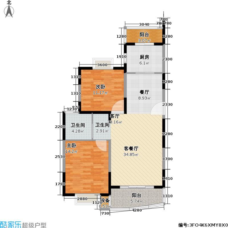 冠龙家园100.00㎡房型: 二房; 面积段: 100 -140 平方米; 户型