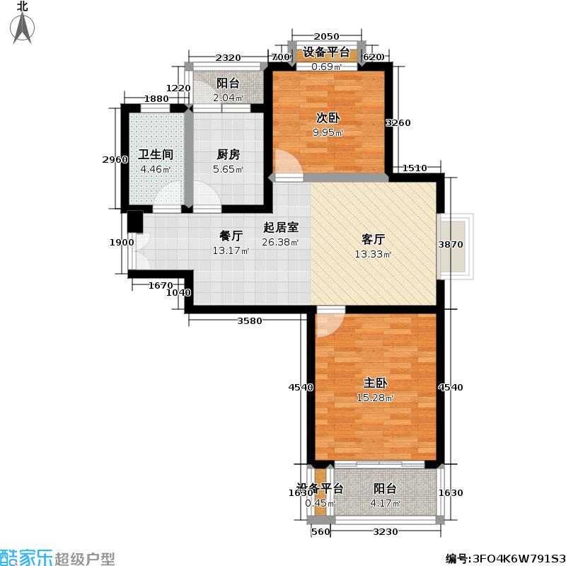 嘉利明珠城一期81.00㎡房型: 二房; 面积段: 81 -98 平方米; 户型