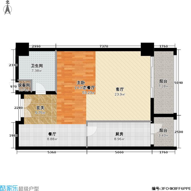 文津国际92.73㎡一室一厅一卫户型