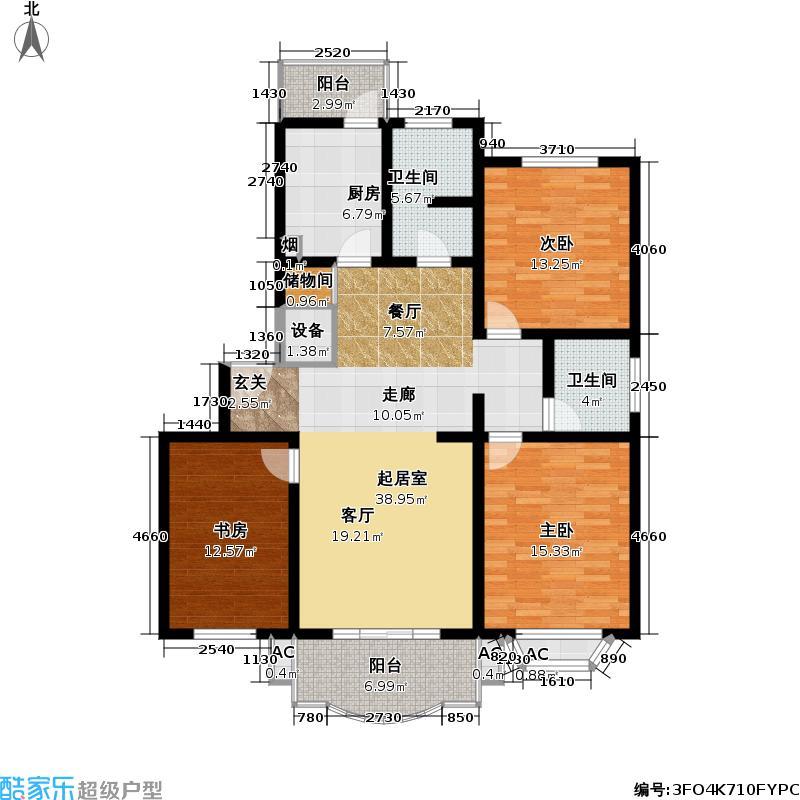 北美公寓二期124.00㎡房型: 三房; 面积段: 124 -144 平方米;户型
