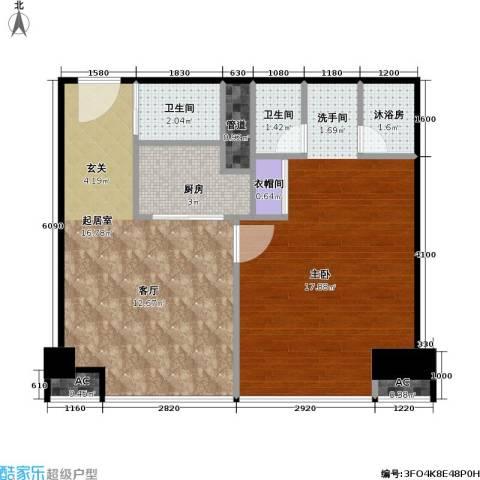 工体3号1室0厅2卫1厨71.00㎡户型图