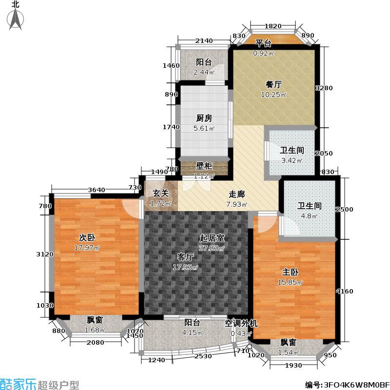 新理想家园一期房型: 二房; 面积段: 107.53 -136.78 平方米; 户型