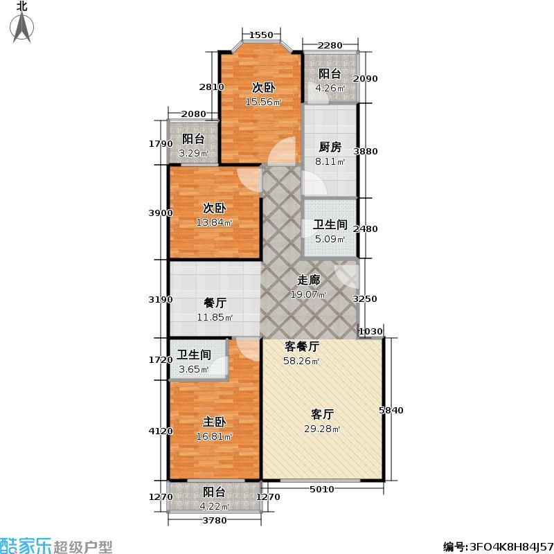 馨港庄园幸福城142.00㎡N户型三室二厅二卫户型