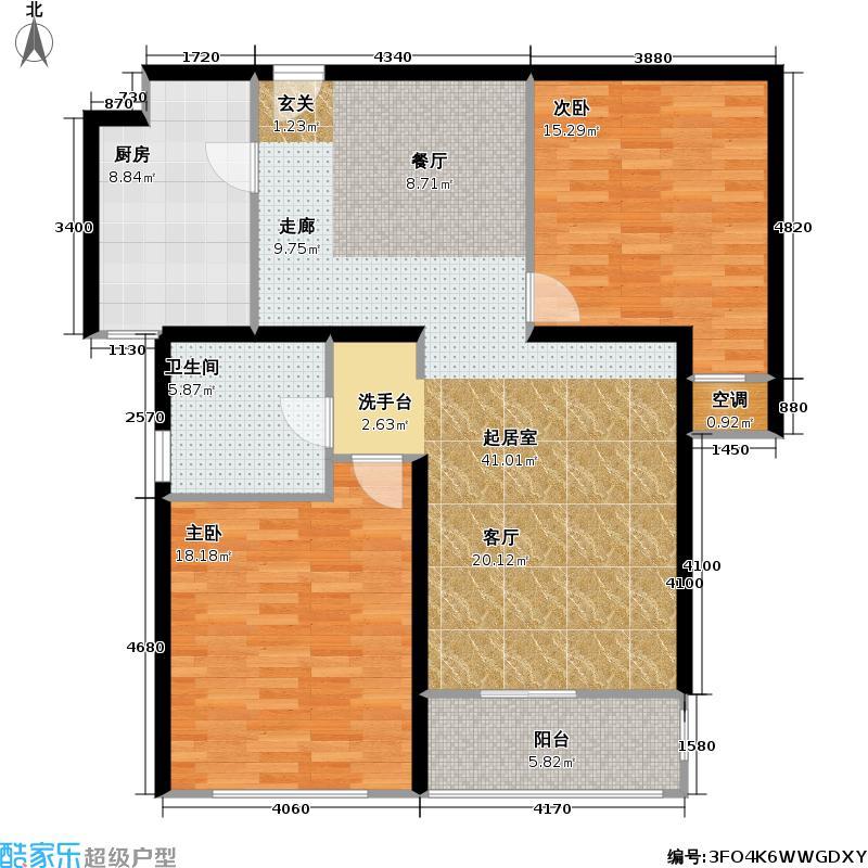 上海花城106.47㎡房型: 二房; 面积段: 106.47 -113.41 平方米;户型