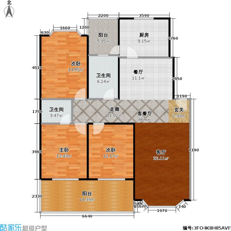 馨港庄园幸福城132.81㎡J户型三室二厅二卫户型