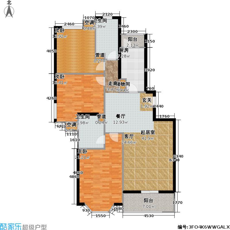 上海花城128.98㎡房型: 三房; 面积段: 128.98 -145.17 平方米; 户型
