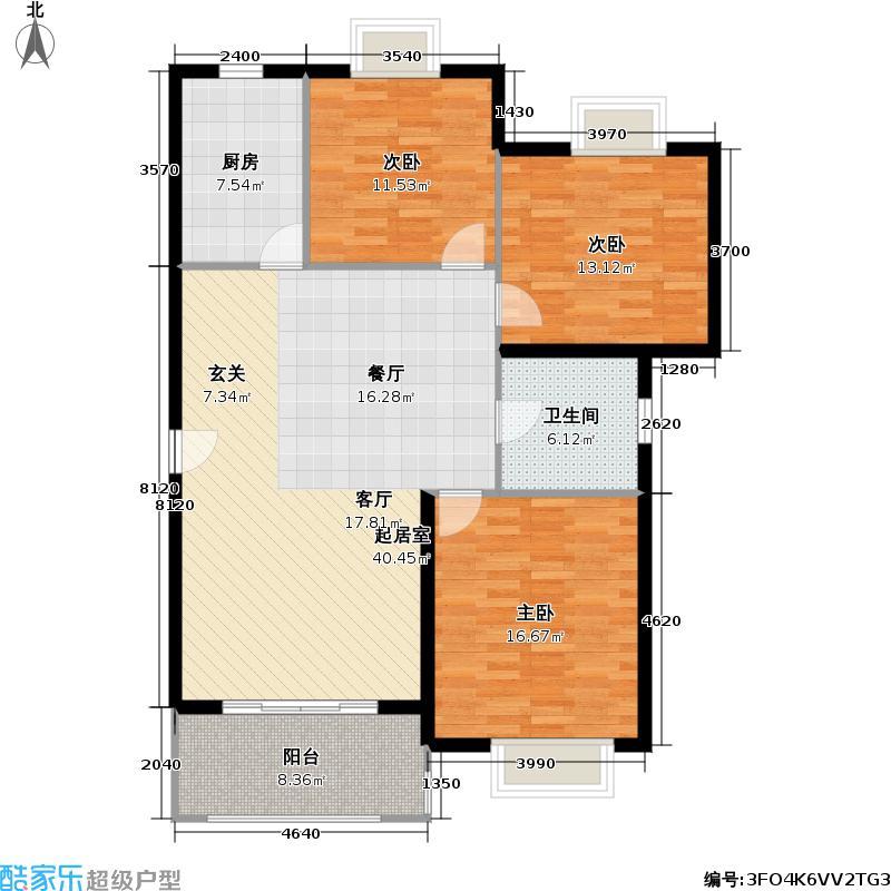 天馨花园七期114.00㎡房型: 三房; 面积段: 114 -136 平方米;户型