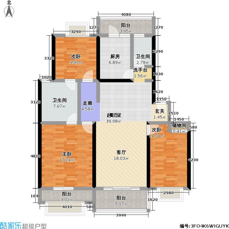 建德花园一期121.00㎡房型: 三房; 面积段: 121 -146 平方米; 户型