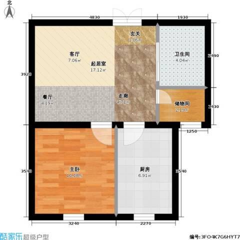 新港名墅花园二期1室0厅1卫1厨46.00㎡户型图