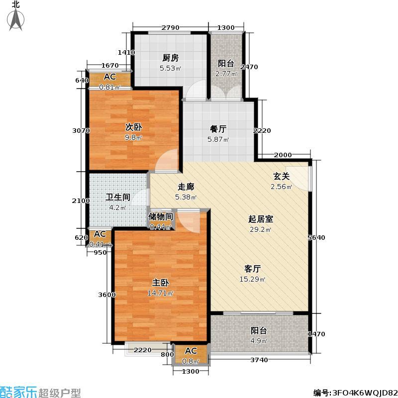 春申玫瑰苑80.00㎡房型: 二房; 面积段: 80 -110 平方米; 户型