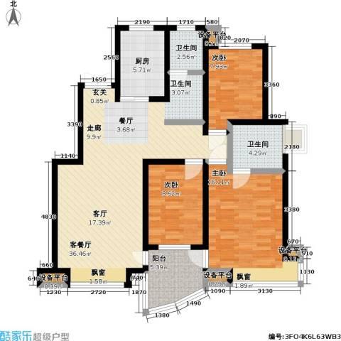 万兆家园二期3室1厅2卫1厨105.00㎡户型图