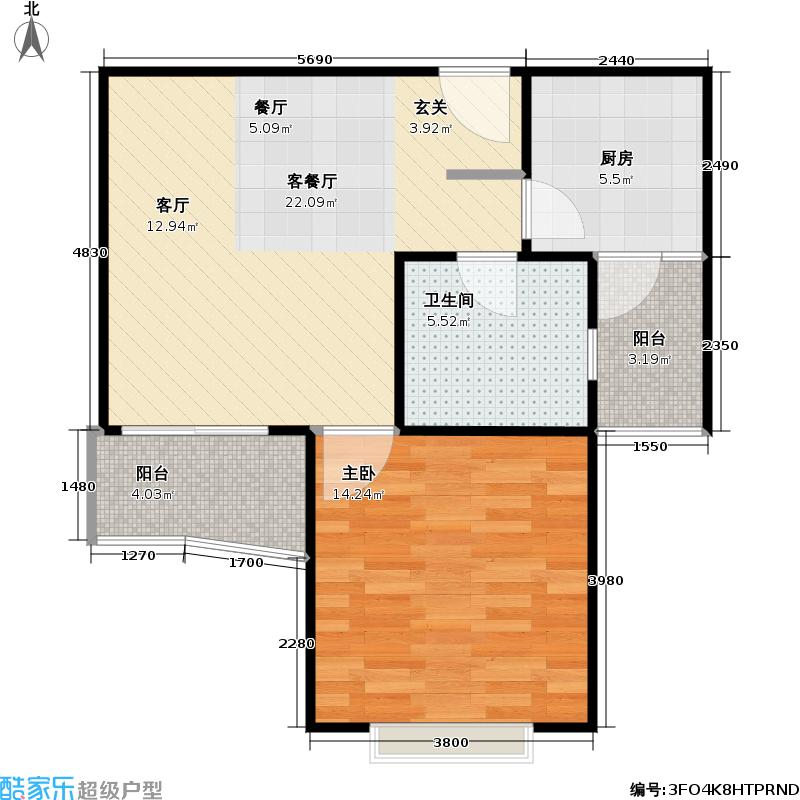 经纬城市绿洲一房一厅一卫,面积约59平方米户型