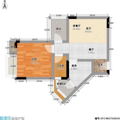 金科绿韵康城(三期)1室1厅1卫1厨46.00㎡户型图
