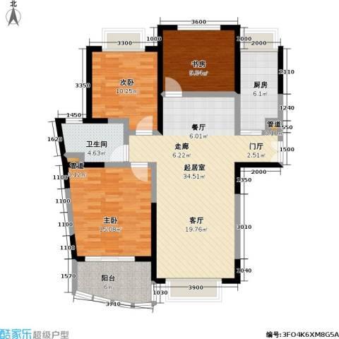 浦发广场3室0厅1卫1厨124.00㎡户型图