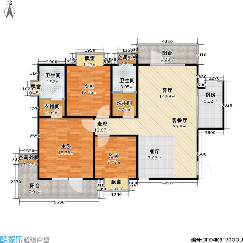 颐和城A面积为户型3室1厅2卫1厨