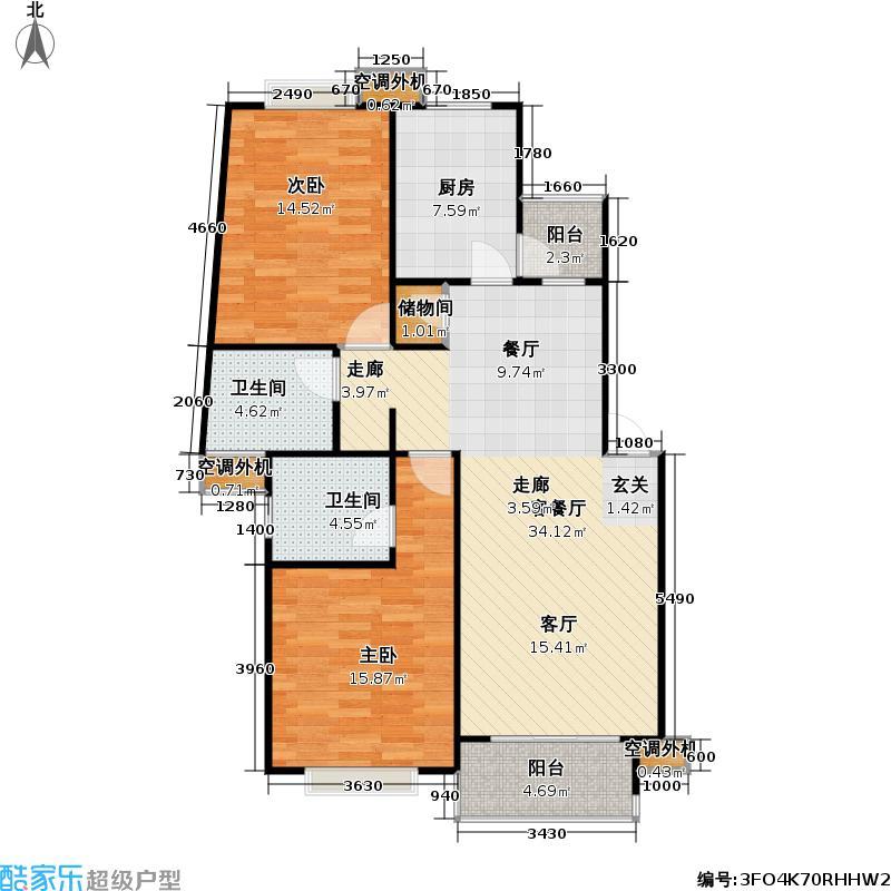 枫庭丽苑一期房型: 二房; 面积段: 95 -106 平方米; 户型