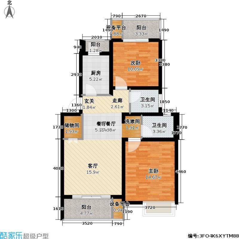 剑桥风范89.47㎡二房二厅二卫,面积约89平方米户型
