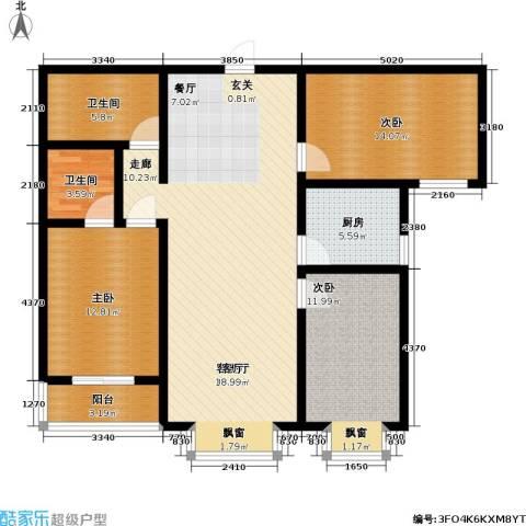 逸格3室1厅2卫1厨126.00㎡户型图